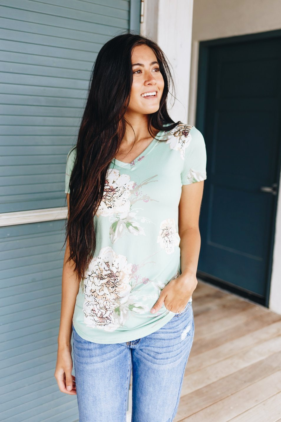Oversized Floral Print V-neck In Mint