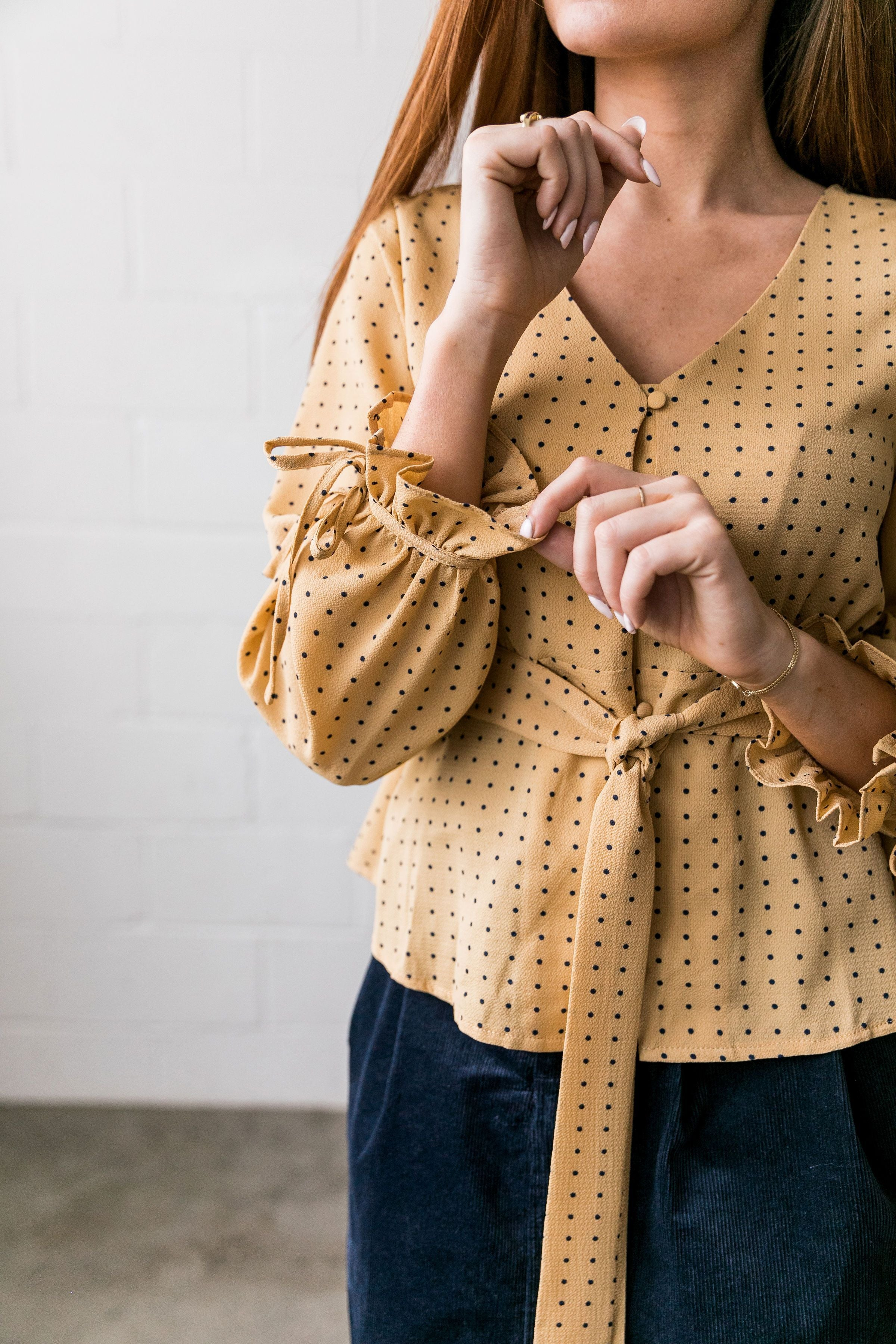 Pretty As A Picture Polka Dot Blouse - ALL SALES FINAL