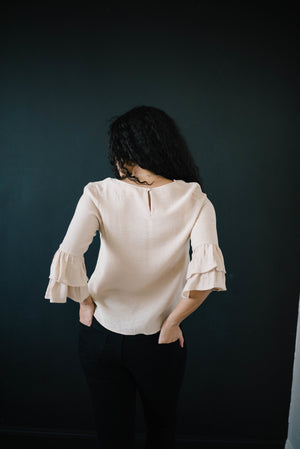 Riley Ruffle Top in Taupe