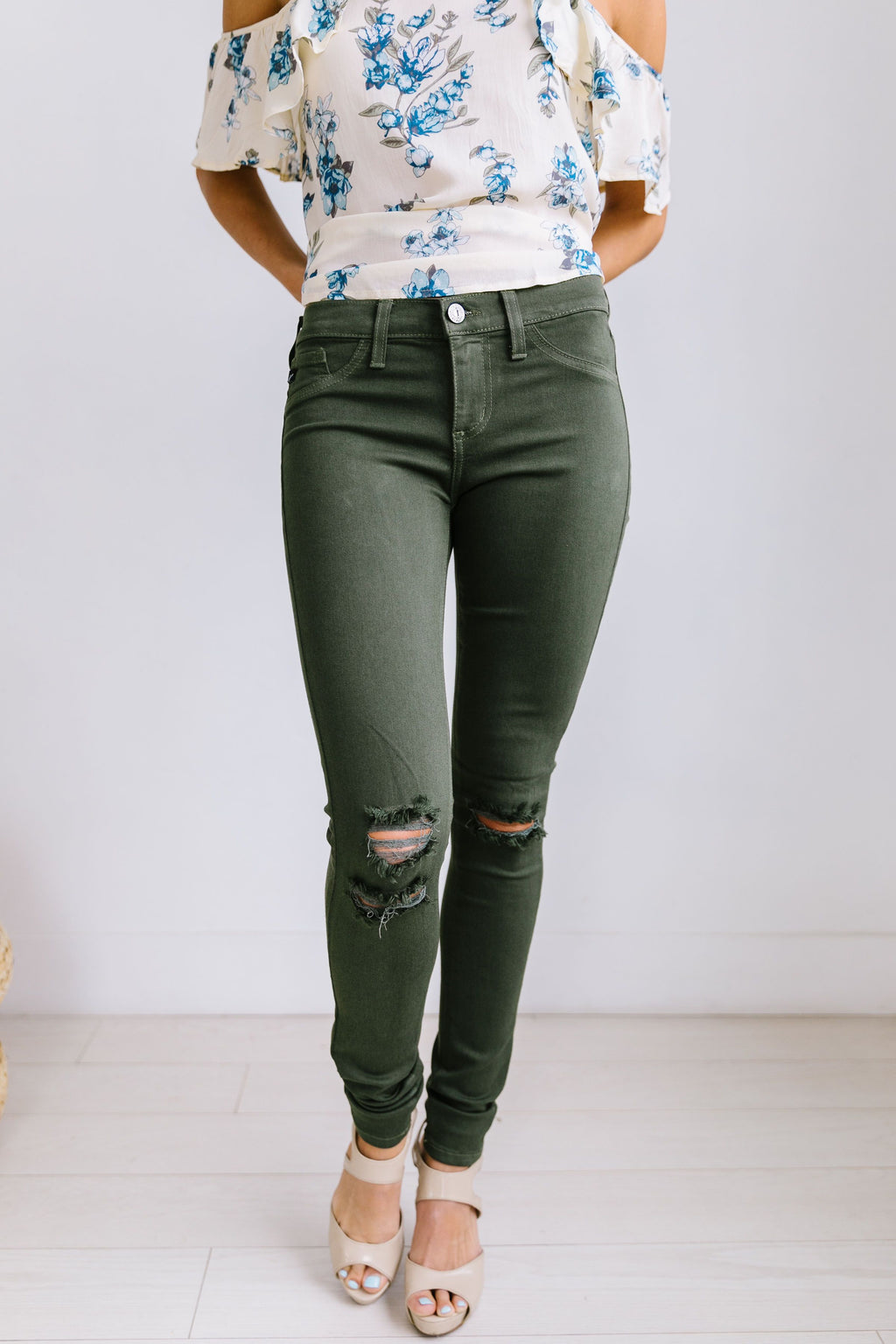 Ripped Knee Olive Skinny Jeans