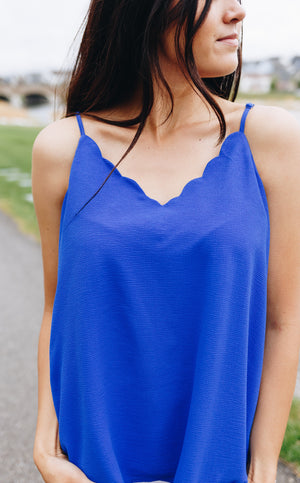 Sweet Scalloped Cami In Royal Blue