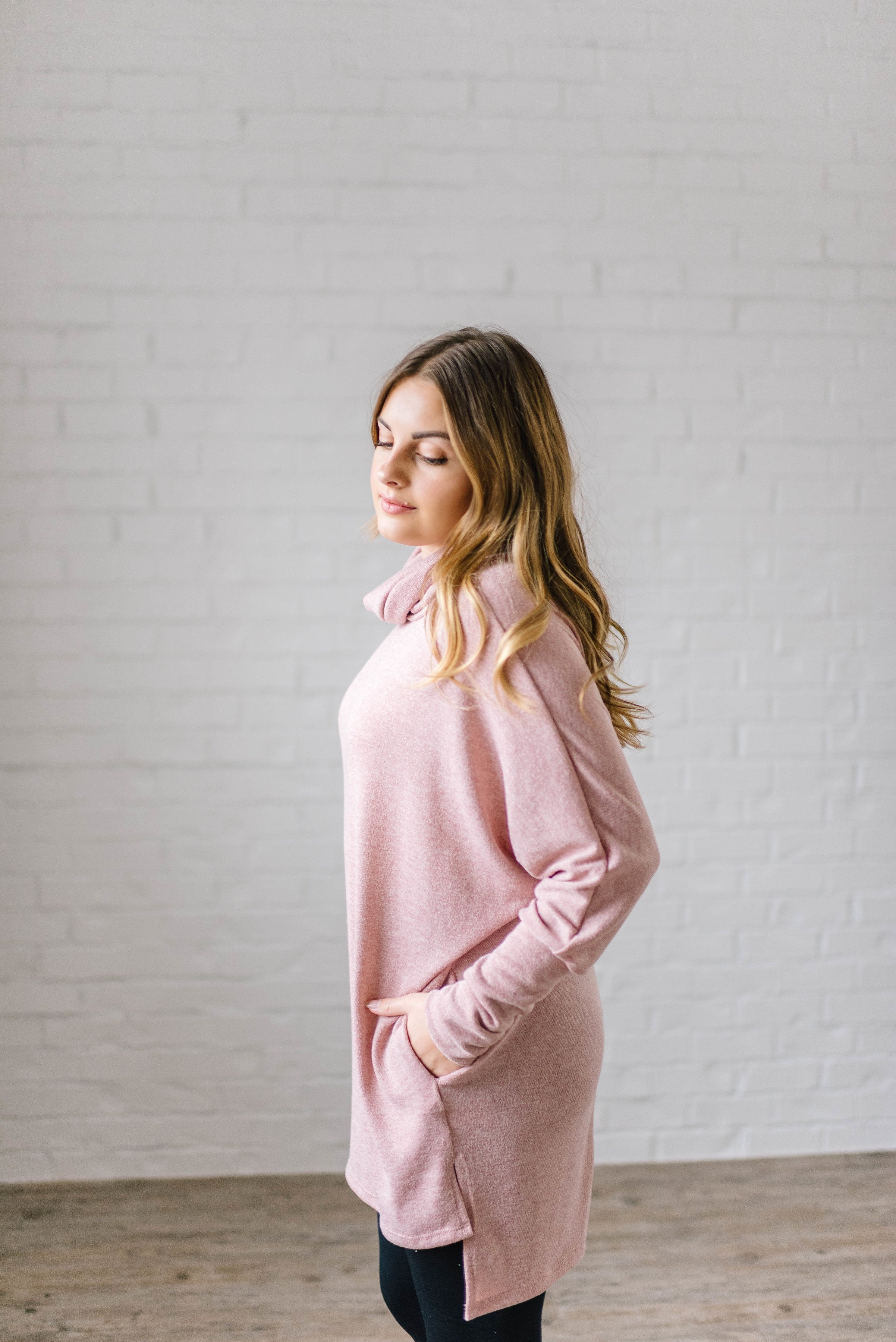 The Brighton Cowl Neck Tunic in Mauve