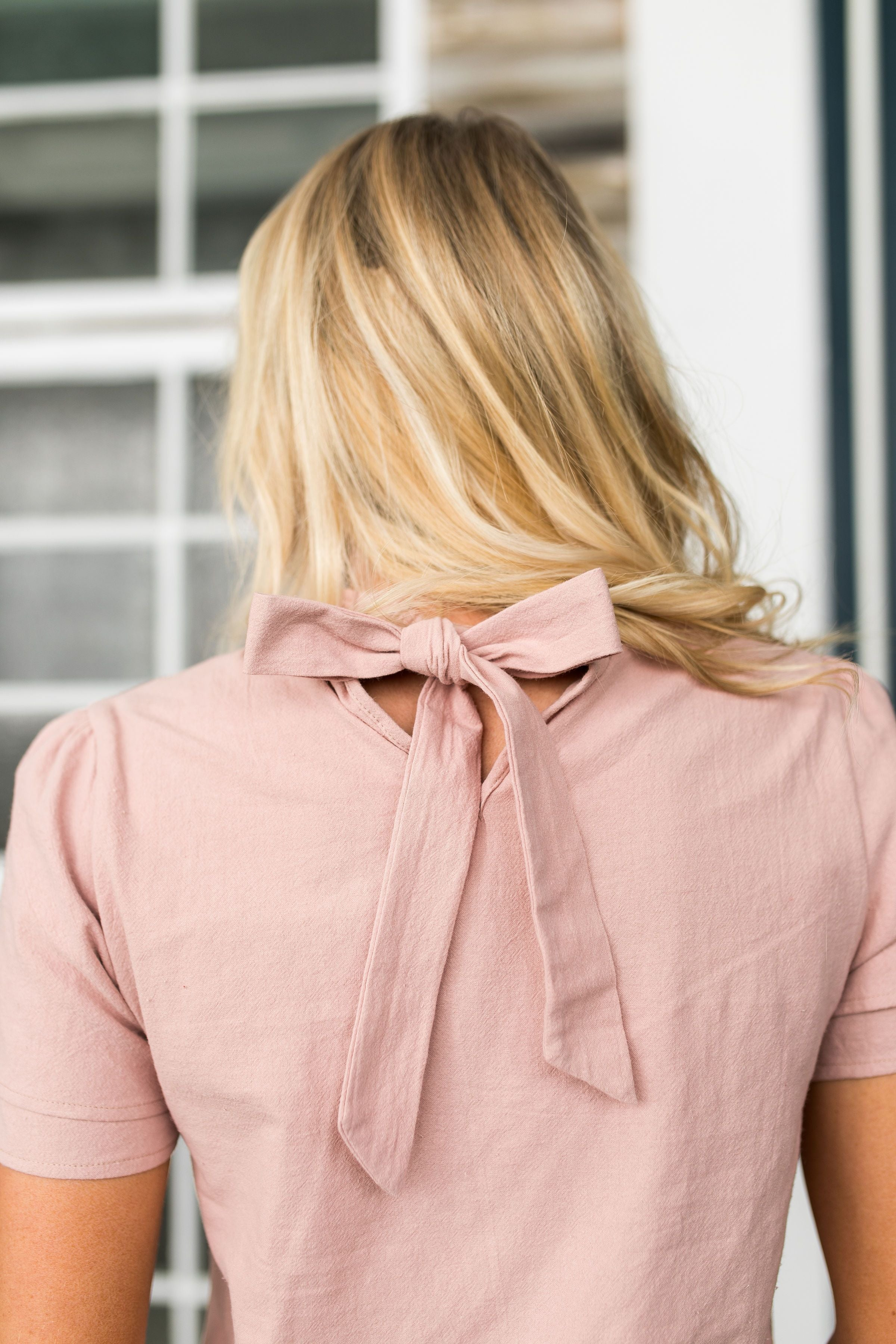 Tickled Pink Tie Back Detail Top - ALL SALES FINAL