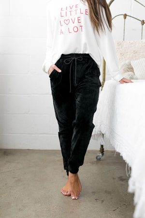 Very Velvety Velour Joggers In Black - ALL SALES FINAL