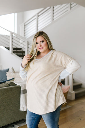 All Talk Ribbed Colorblock Top In Taupe