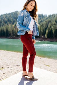 Beguiling Moto Jegging In Burgundy