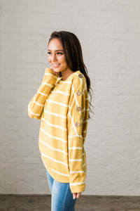 Buttons + Stripes Sweater In Goldenrod