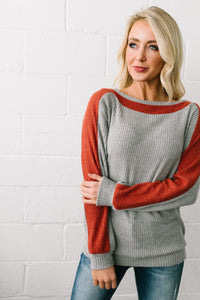 Clever Color Block Waffle Knit Top - ALL SALES FINAL