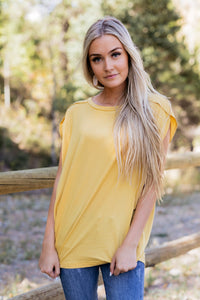 Don't Worry Be Happy Tee In Mustard - ALL SALES FINAL