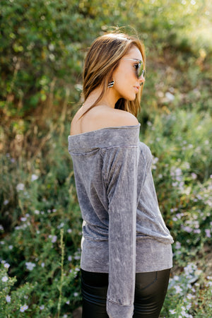 Down & Dirty Off The Shoulder Top In Charcoal - ALL SALES FINAL