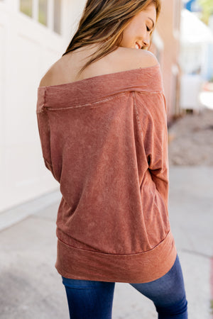 Down & Dirty Off The Shoulder Top In Rust - ALL SALES FINAL