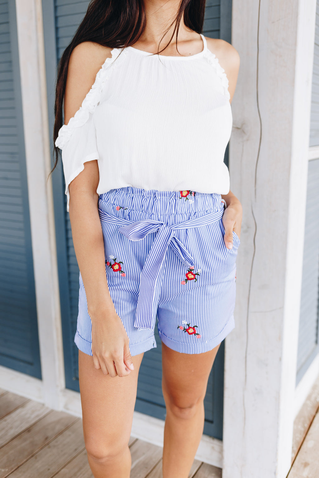 Embroidered Pinstriped Shorts