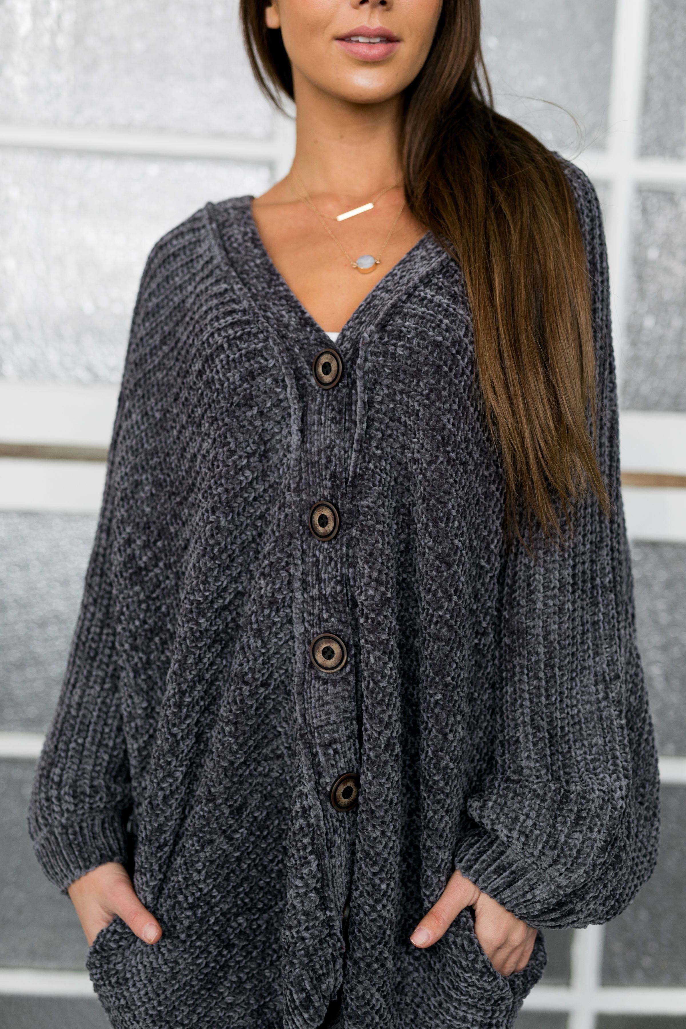 Faded Memories Chenille Cardigan In Charcoal - ALL SALES FINAL