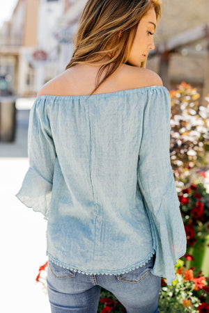 Flirty Flounce Top In Dusty Teal
