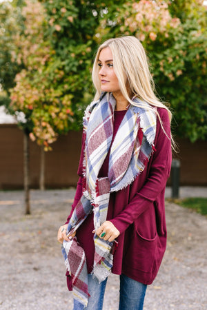Frayed & Fringed Scarf In Burgundy + Blue