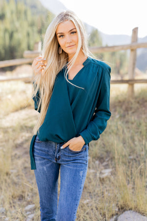 Hillary High Low Wrap Top In Hunter Green - ALL SALES FINAL