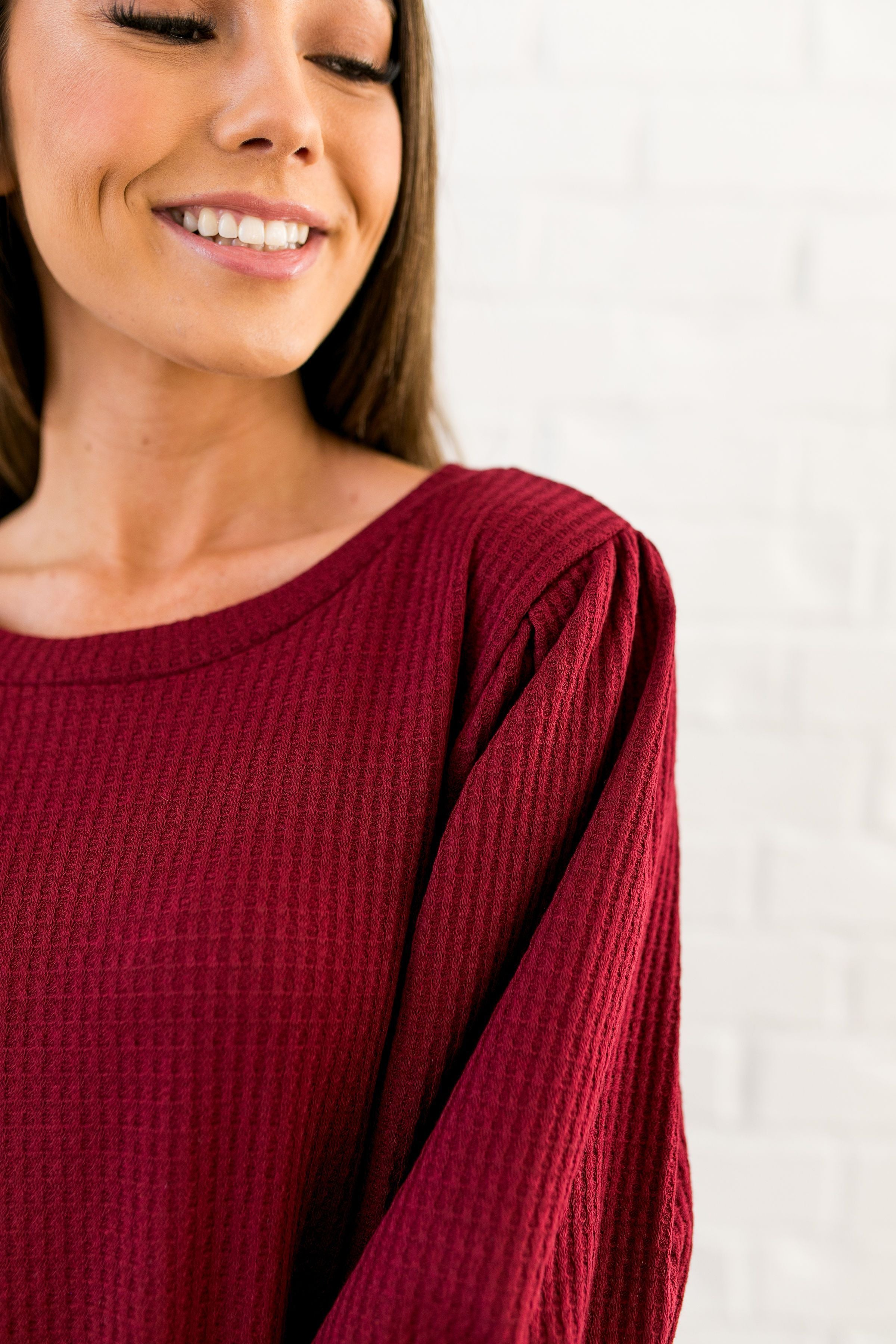 It's All About The Sleeves Waffle Knit Top - ALL SALES FINAL