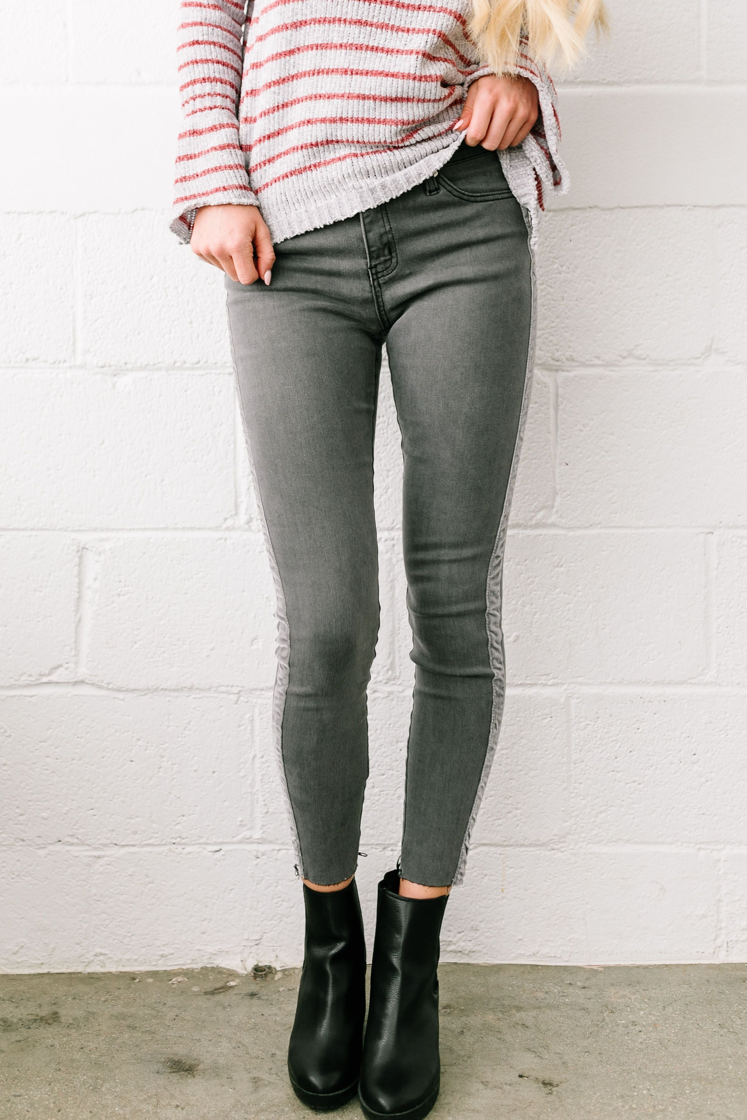 Las Velvet Strip Dark Gray Skinny Jeans - ALL SALES FINAL