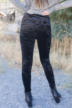 Luxurious Crushed Velvet Leggings In Black - ALL SALES FINAL