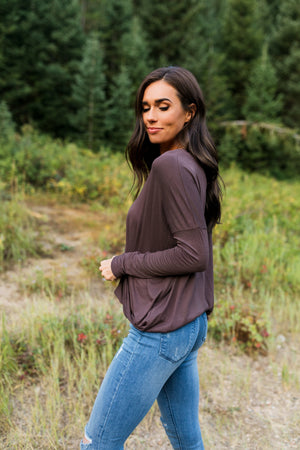 Moonlit Nights Wrap Top In Cocoa