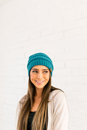 Nifty Knit Beanie In Teal - ALL SALES FINAL