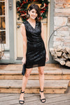 Onyx Opulence Sequined Dress