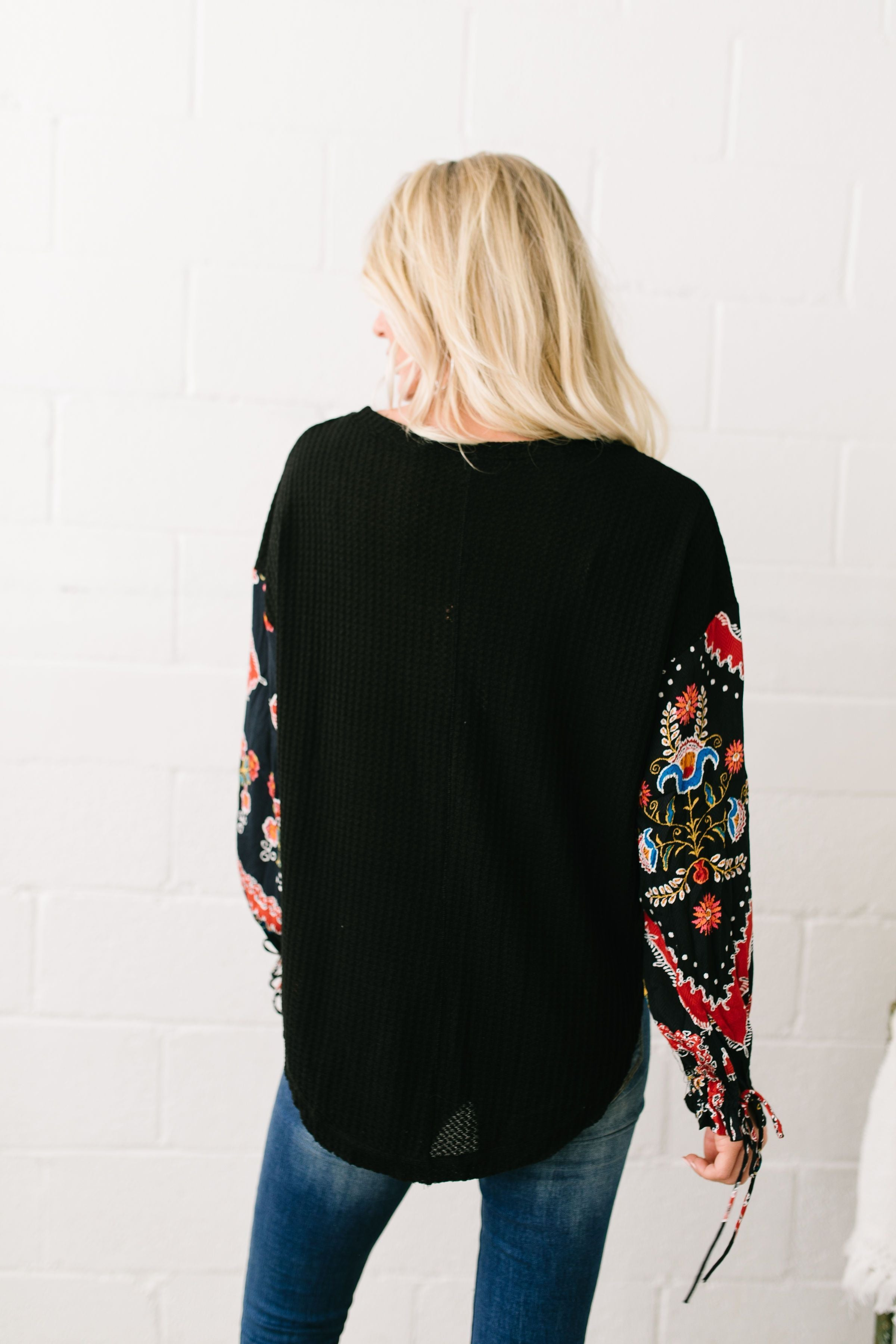 Patchwork Of Promises Waffle Knit Top In Black