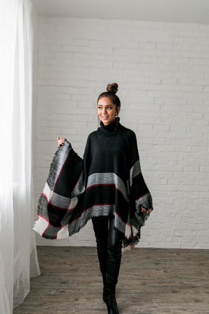 Playful Plaid Poncho