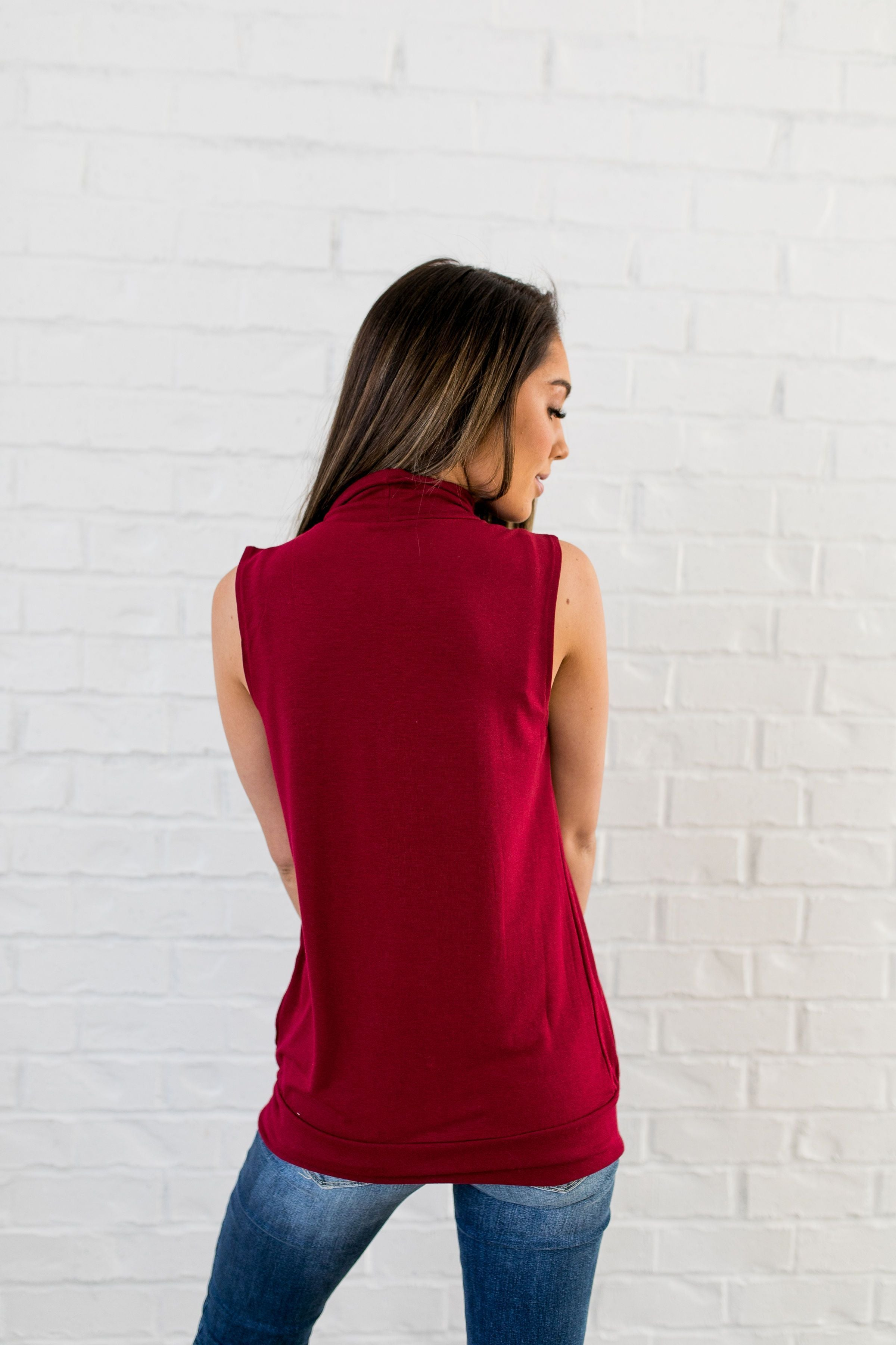 Pleats A Plenty Sleeveless Top In Burgundy - ALL SALES FINAL