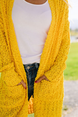 Pocketed Popcorn Cardigan In Honey