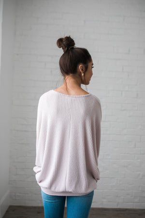 Ridiculously Soft Ribbed Knit Top In Light Lilac - ALL SALES FINAL