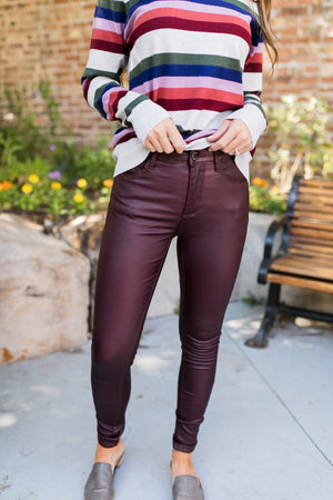 Rock Bottom Waxy Jeans In Burgundy - ALL SALES FINAL