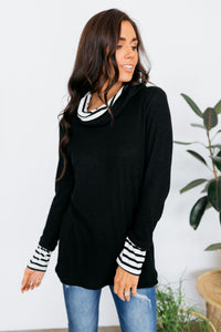 Shy Stripes Cowl Neck Top