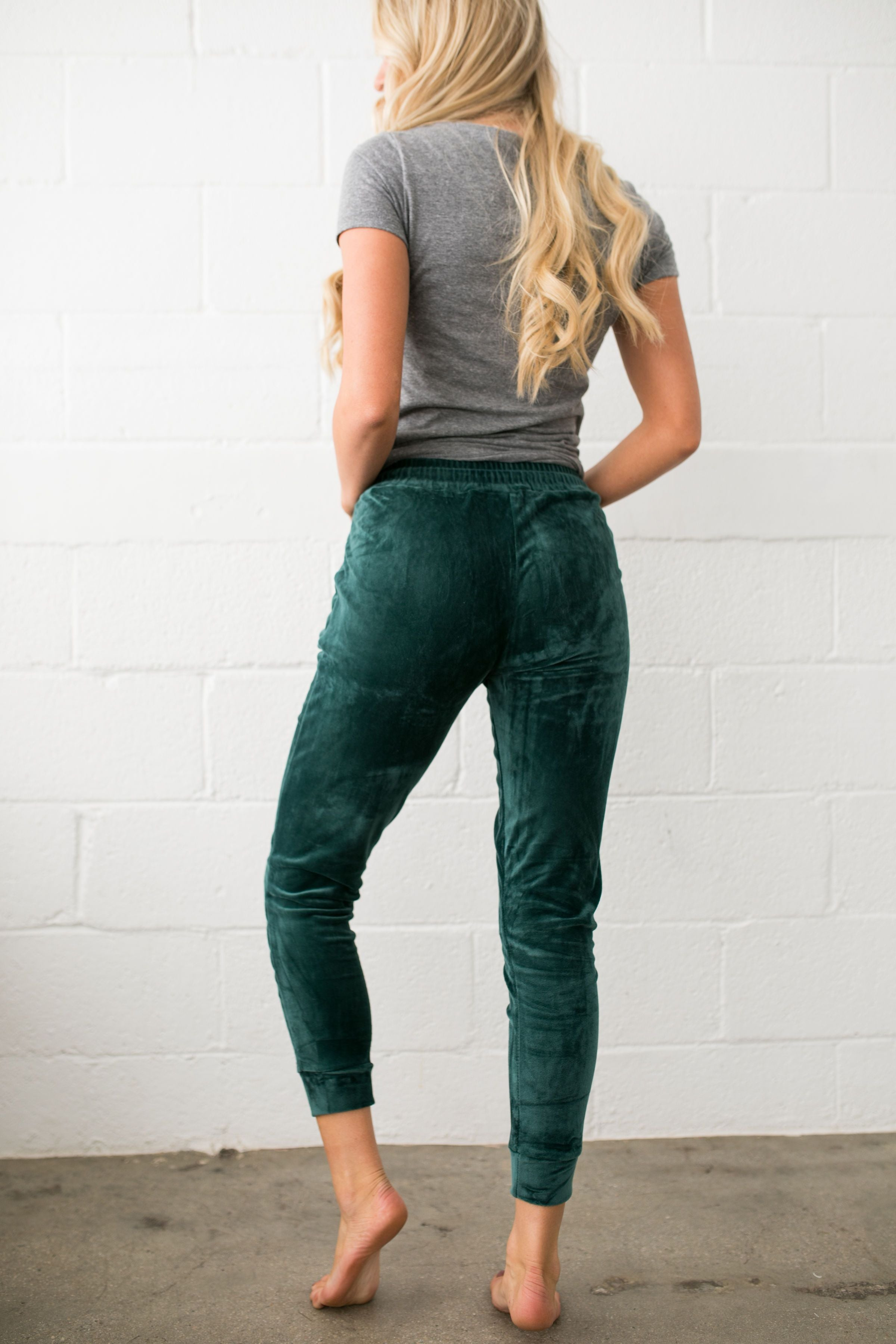Very Velvety Velour Joggers In Green - ALL SALES FINAL