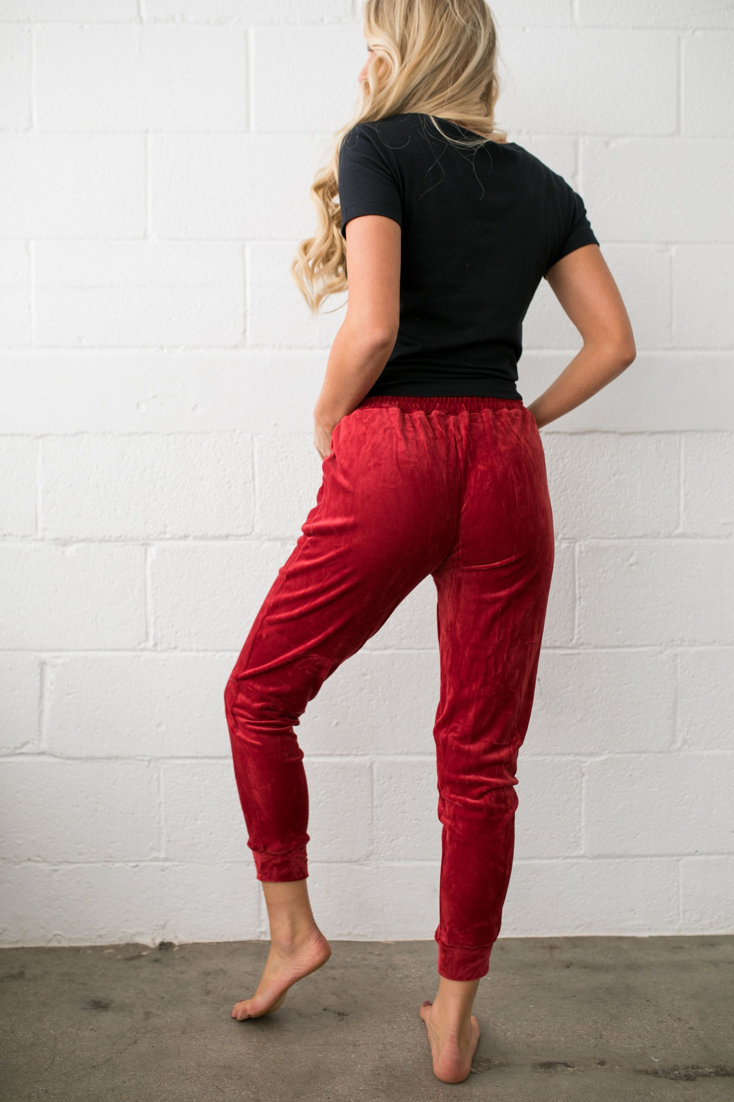 Very Velvety Velour Joggers In Red - ALL SALES FINAL