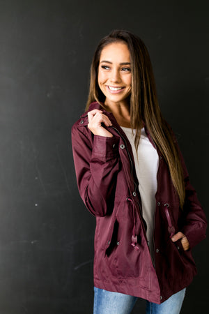 Waterproof Hooded Anorak In Burgundy - ALL SALES FINAL