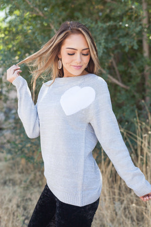 Wear Your Heart On Your Sleeve Sweater In Gray