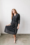 Winding Vines Wrap Dress In Black