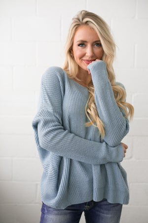 X Marks The Spot Sweater In Light Blue - ALL SALES FINAL