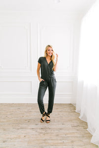 Let's Wrap Grey Jumpsuit