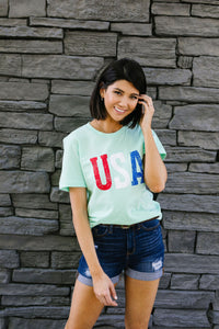 Born In The USA Graphic Tee In Mint
