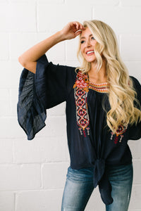 Emma Embroidered Tie-Front Blouse - ALL SALES FINAL