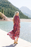 Fiery Fiesta Button-Down Maxi Dress - ALL SALES FINAL