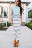 Gray Striped Maxi Skirt