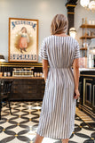Gray Striped Wrap Dress