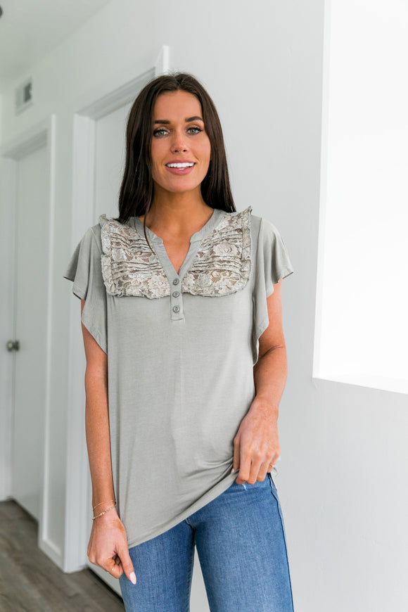 Hearts Aflutter Pin-tucked Lace Top