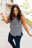 Nautical Stripe V-Neck Top