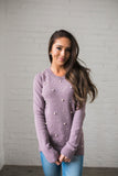 Pearl Among Sweaters In Dusty Lavender - ALL SALES FINAL