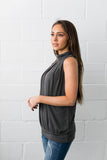 Pleats A Plenty Sleeveless Top In Charcoal - ALL SALES FINAL