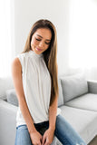 Pleats A Plenty Sleeveless Top In Winter White